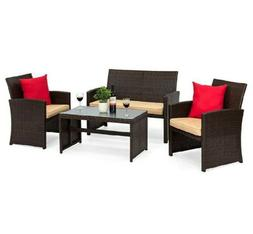 4-Piece Outdoor Wicker Sofa Patio Furniture Set