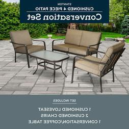 4-Piece Patio Furniture Conversation Set Brown Metal Outdoor