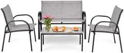 Tangkula 4 Piece Patio Furniture Outdoor Sofa Garden Lawn Se