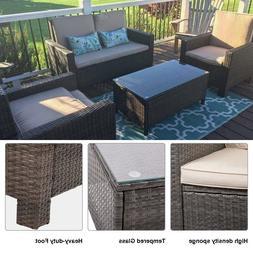 4-Piece Patio Furniture Set 2 Chairs 1 Sofa 1 Glass Table Ga