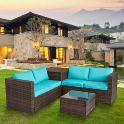 4-piece Patio Furniture Set Rattan Wicker Sectional Sofa Con