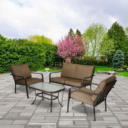 Patio Furniture Set 4 Piece Table Chairs Sofa Outdoors Seati