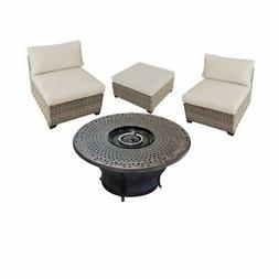 """4 Piece Patio Furniture Set with 48"""" Gas Fire Pit Table, Mon"""