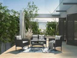 4 Piece Patio Furniture Sets Rattan Wicker Outdoor Conversat