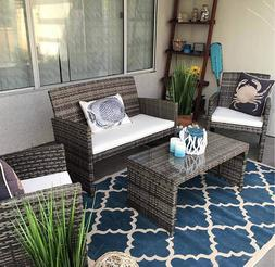 4-Piece Patio Furniture Set Rattan Wicker Conversation Soft