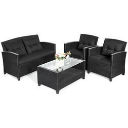 4-Piece Patio Rattan Wicker Conversation Furniture Set Soft