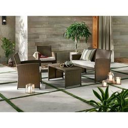 4 Piece Patio Rattan Wicker Furniture Table Sofa Set Cushion