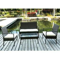 4-Piece PE Patio Wicker Cushioned Garden Sofa Set Outdoor Ra