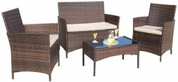 4 Pieces Outdoor Patio Furniture Sets Rattan Chair Wicker Se