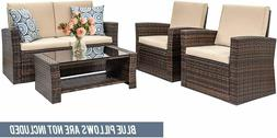 4 Pieces Outdoor Patio Furniture Sets Sectional Sofa Rattan