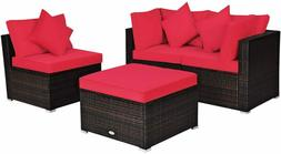 4 Pieces Patio Furniture Set, All Weather Outdoor Sectional