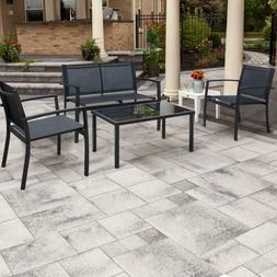 4 Pieces Patio Furniture Set Outdoor Modern Textilene Bistro