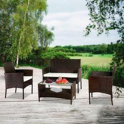 4 Pieces Patio Sofa Rattan Wicker Furniture Set Outdoor Sect