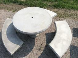 4' Round Concrete Table Set, Outdoor Furniture, Patio Table