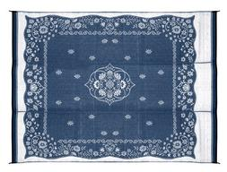 Camco 42851 Reversible Outdoor Mat 9' x 12', Blue Oriental