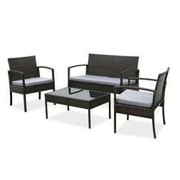 4PC In/Outdoor Patio Lawn Sofa Set Rattan Wicker Furniture T