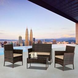 4 Pieces Outdoor Patio Lawn Sofa Set Rattan Wicker Furniture