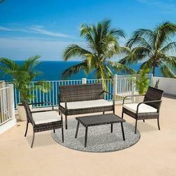 4PC Outdoor Rattan Wicker Furniture Set Loveseat Sofa Cushio