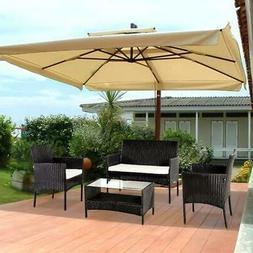 4PC Outdoor Rattan Wicker Furniture Set Patio PE Cushioned C