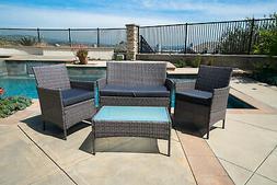 4pc Patio Furniture Set PE Wicker Cushioned Outdoor Rattan S