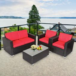 4PC Outdoor Rattan Sofa Set Sectional Cushioned Couch Garden