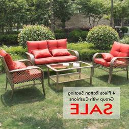 4PC Rattan Sofa Furniture Set Patio Garden Lawn Cushioned Se