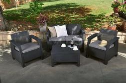 4pc Rattan WICKER Table Sofa 2x Chair SET Garden PATIO Outdo