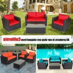 4PCS Garden Rattan Wicker Corner Sofa Set w/ Table Outdoor S
