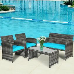 4PCS Outdoor Patio Furniture Set Rattan Wicker Conversation