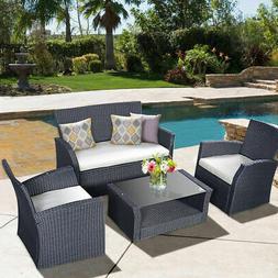 4PCS Outdoor Patio  Furniture Set Rattan Wicker Garden Lawn