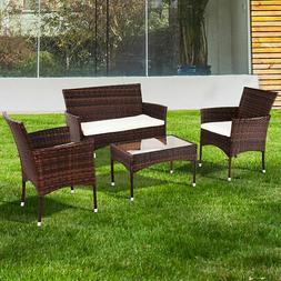 4PCS Outdoor Patio PE Rattan Wicker Table Shelf Sofa Furnitu