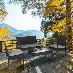 Oshion 4PCS Outdoor Patio Rattan Wicker Table Shelf Sofa Fur