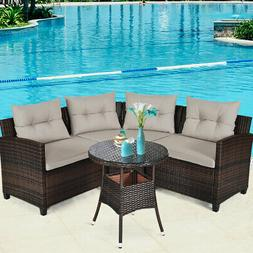 4PCS Outdoor Patio Rattan Furniture Set Cushioned Sofa Table