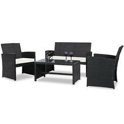 Topbuy 4PCS Outdoor Patio Rattan Furniture Set Cushioned Sof