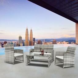 4PCS Outdoor Patio Rattan Wicker Furniture Set Loveseat Wick