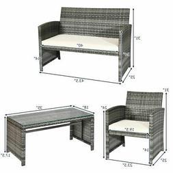 4PCS Patio Outdoor Rattan Wicker Furniture Set w/ Cushioned