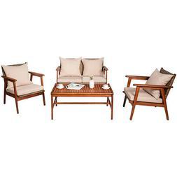4PCS Patio Rattan Furniture Set Acacia Wood Frame Cushioned