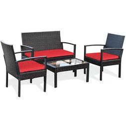4PCS Patio Rattan Furniture Set Cushioned Loveseat Armrest G