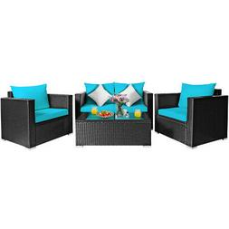 4PCS Patio Rattan Furniture Set Cushioned Sofa Chair Coffee
