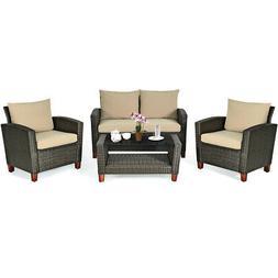4PCS Patio Rattan Furniture Set Solid Wood Leg Cushioned Sof