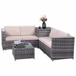 4PCS Patio Rattan Wicker Furniture Set Sofa Loveseat Cushion