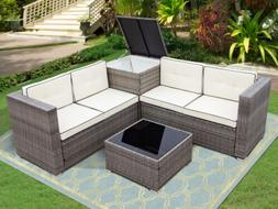 4PCS Patio Rattan Wicker Set Outdoor Furniture Sofa Cushione