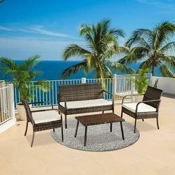 4PCS Patio Wicker Rattan Sofa Sectional Set W/Cushion Table