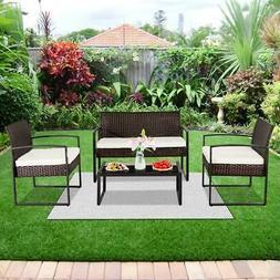 4Pcs Rattan Garden Wicker Furniture Set Patio Outdoor Table