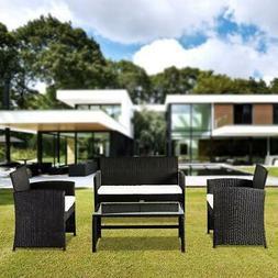 4pcs Rattan Patio Furniture Outdoor Sofa Set Cushion Seat Ga