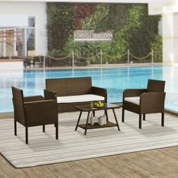 4pcs Rattan Patio Furniture Set Garden Outdoor Sofa Glass Ta