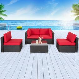 4PCs Rattan Patio Garden Lawn Wicker Sofa Set Sectional PE O