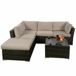 4PCS Wicker Cushioned Patio Rattan Furniture Set Sofa  5 Sea