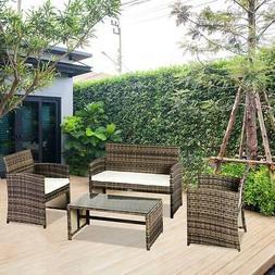 4PCS Wicker Rattan Sofa Furniture Set Patio Garden Lawn Sofa