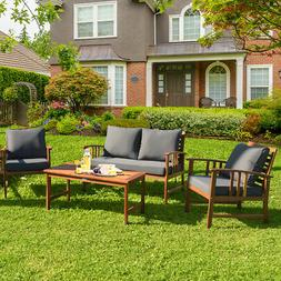 4PCS Wooden Patio Furniture Set Table Sofa Chair Cushioned G